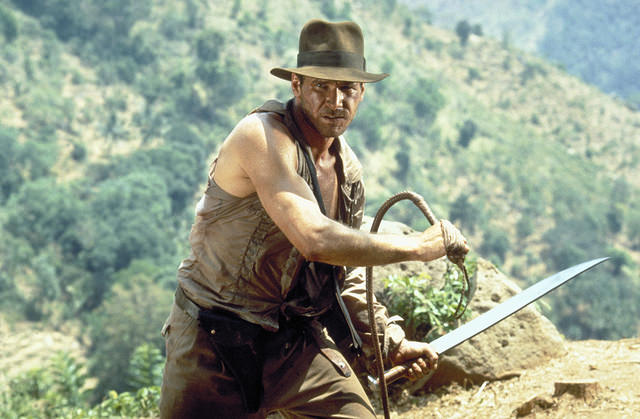 "Harrison Ford dans ""Indiana Jones et le temple maudit"", un film de Steven Spielberg (1984, Etats-Unis)"